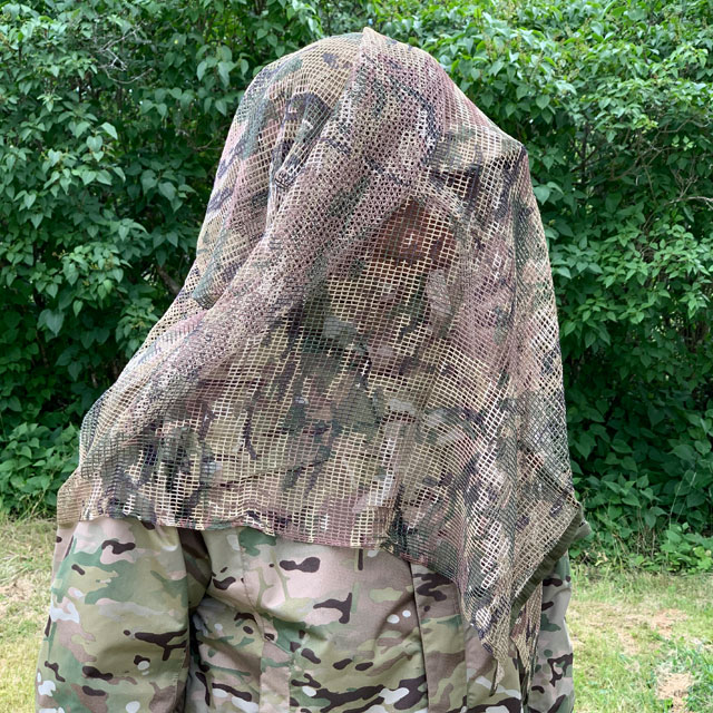 Sideview of a Scrim Net Scarf Multicam