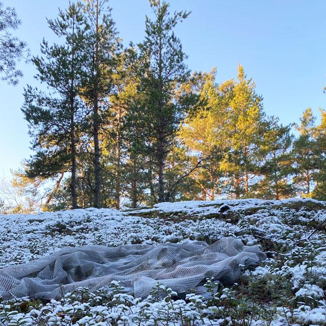 Scrim Net Scarf White Moss in white snowy forest scenery