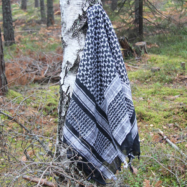 A Shemagh Black is hanging on a tree in the Swedsih autumn nature.
