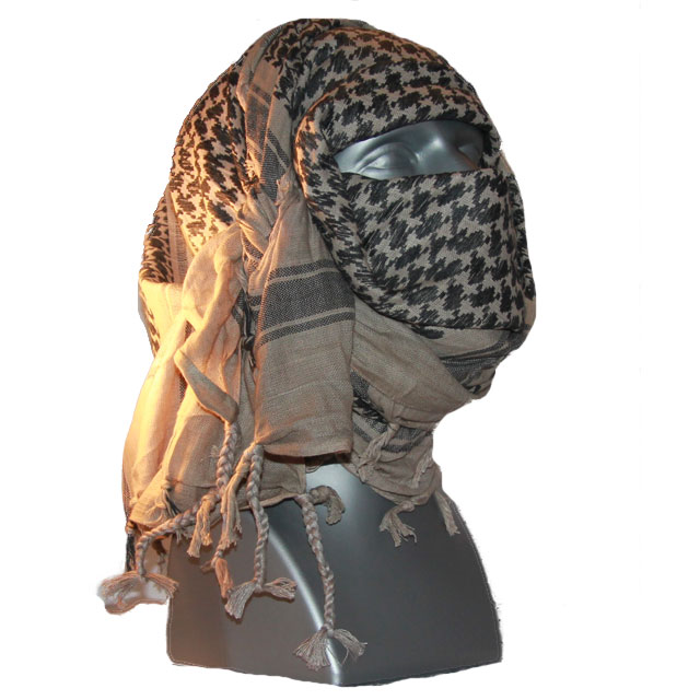 A Shemagh Khaki/Black is wrapped around face and head of a mannequin.
