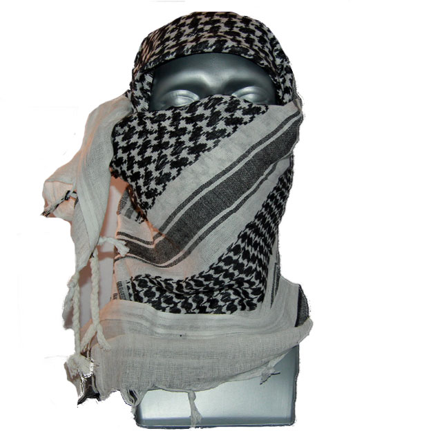 A Shemagh Black/White is draped around the face and head of a mannequin.