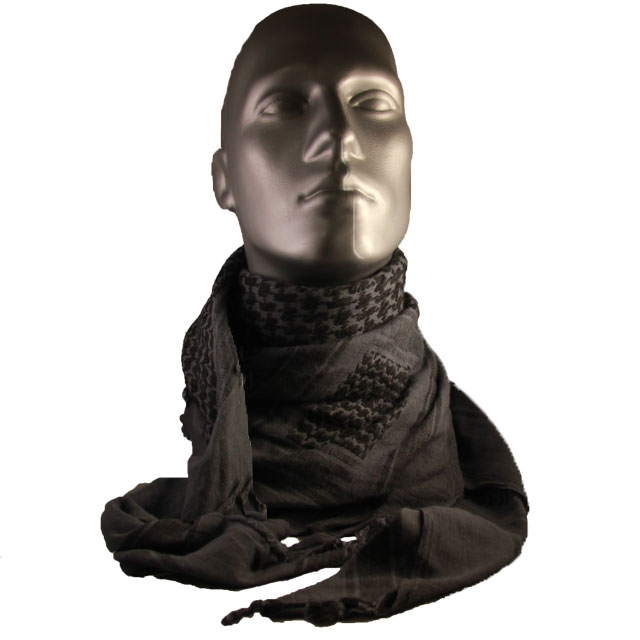 Mannequin with a draped Shemagh BlueGrey/Black NAVY around its neck.
