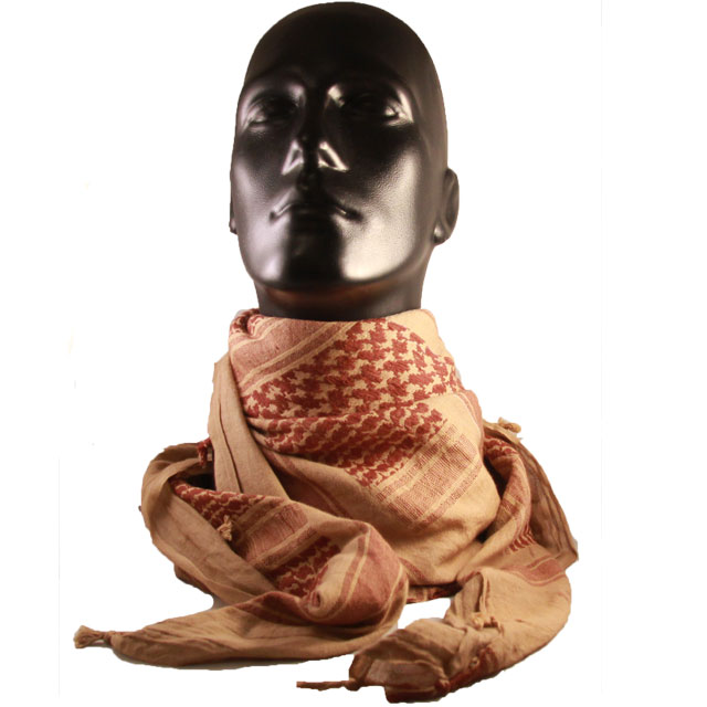 A mannequin is wearing a Shemagh Khaki/Brown draped around its neck.