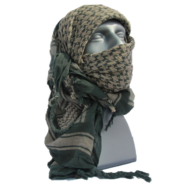 A Shemagh Khaki/Green is draped over the head on a mannequin.