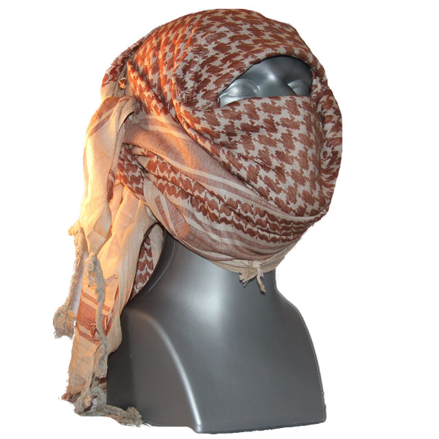 Product photo of a Shemagh Light Khaki/Brown drapped over head and face of a mannequin.