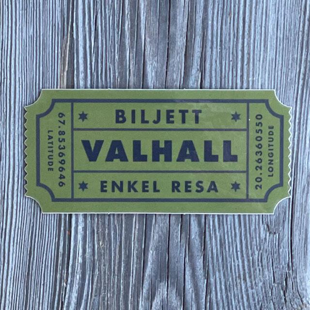 Sticker Biljett Valhall Militärgrön sedd från framsidan