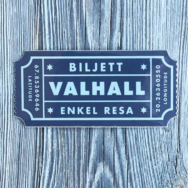 Sticker Biljett Valhall Svart/Grå sedd från framsidan