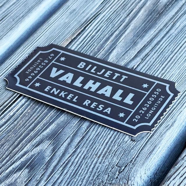 Sticker Biljett Valhall Svart/Grå sedd från sidan