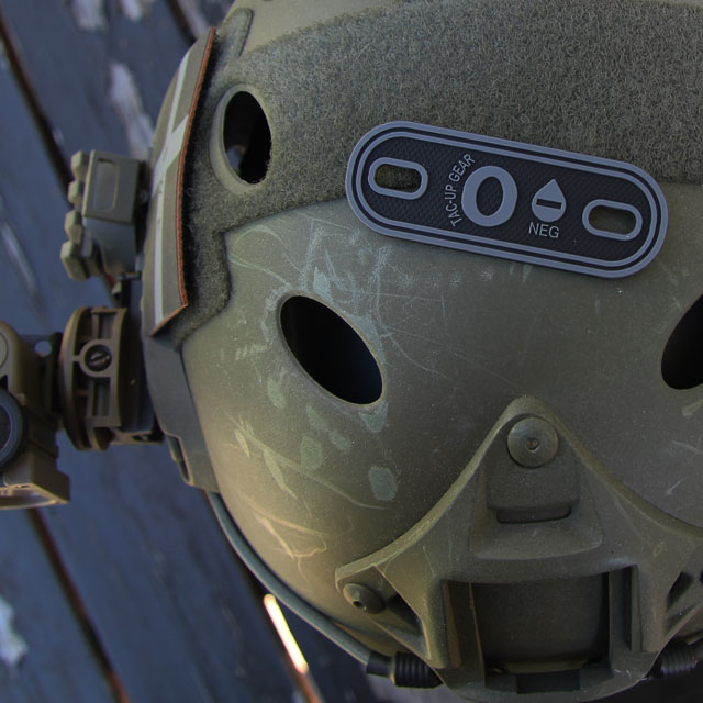 O- Bloodtype Tag Black PVC on an Ops Core Helmet.