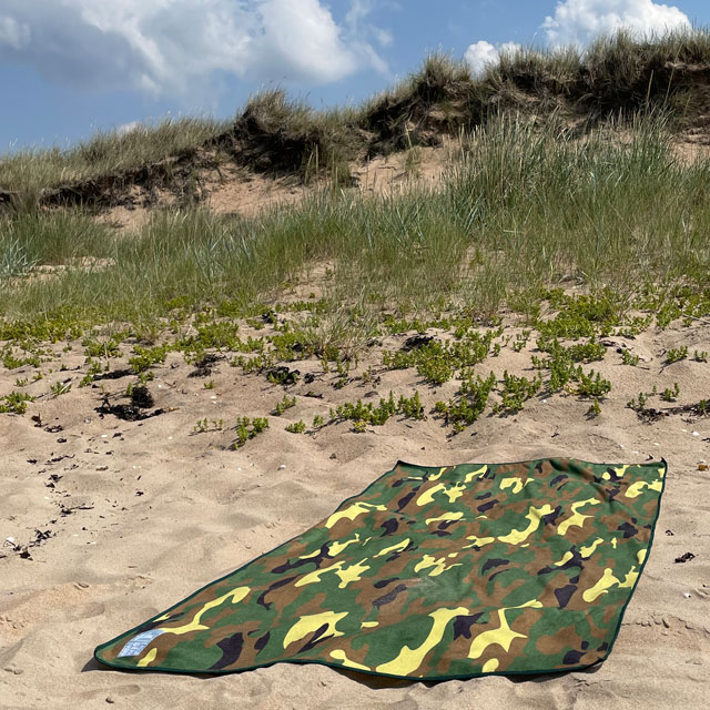 Towel Camouflage from TAC-UP GEAR on the beach sand