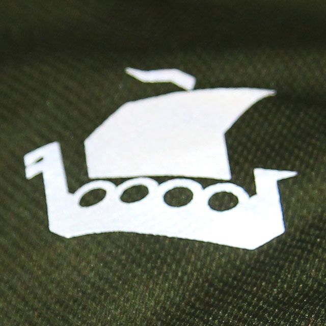 Reflective vikingship / longboat Tac-Up Gear logo on the breast of a Training T-Shirt Green.