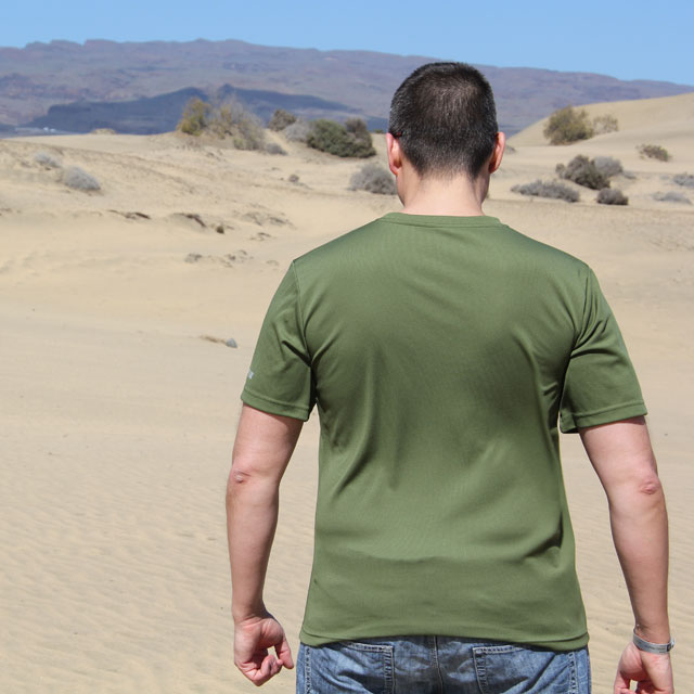 The back of a Training T-Shirt Green.