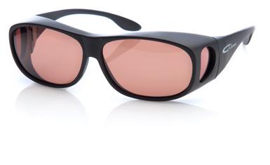 Solglasögon, sun-cover/fit-over, (gula och koppar). A Jensen Flyfishing