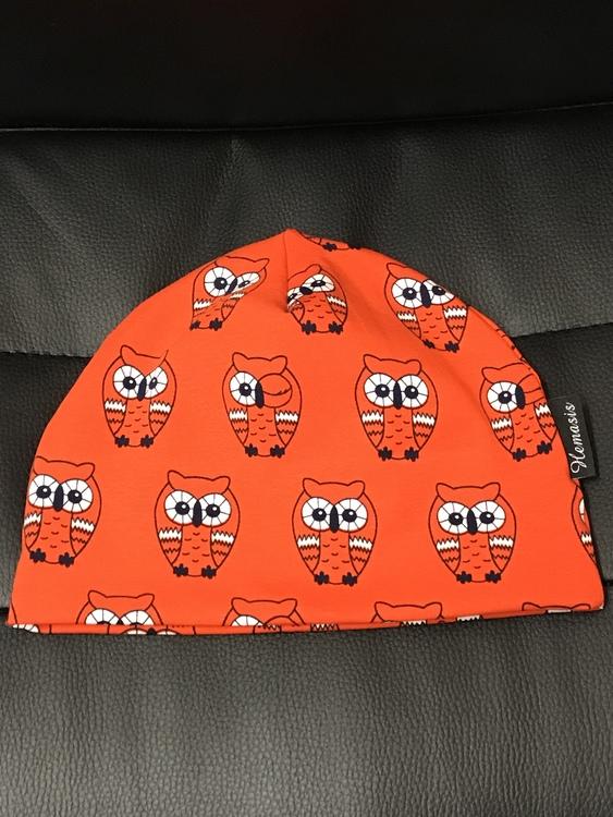 Mössa Barn - 1-5 år - ugglor orange