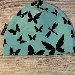 Mössa Vuxen - Grå m fjärilar