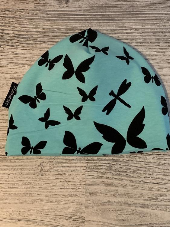 Mössa Barn 1-5 år - Turkos m fjärilar