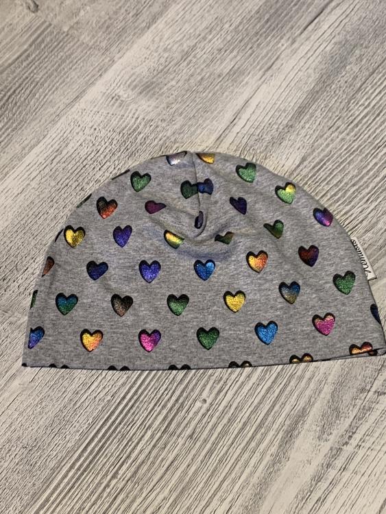Mössa Barn 1-5 år - Grå hjärtan metallic