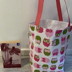 Kasse medium med rosa ugglor