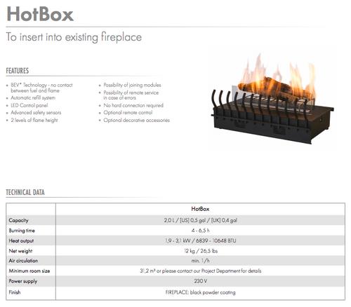 Hot Box, eldstad inomhus med etanolkamin