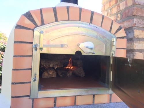 Pizzaugn vedeldad 80 x 80 cm med skorsten fraktfritt.