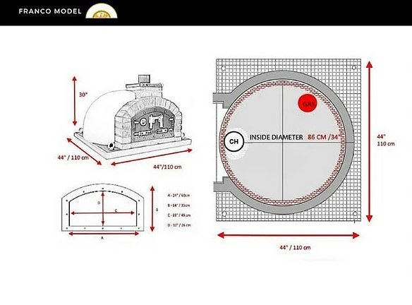 120 cm Pizzaugn Franco dubbeldörr med eller utan natursten