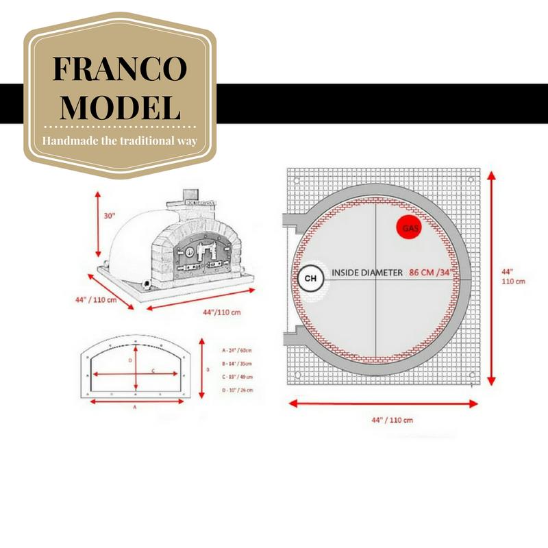 100 cm Pizzaugn Franco dubbeldörr med eller utan natursten