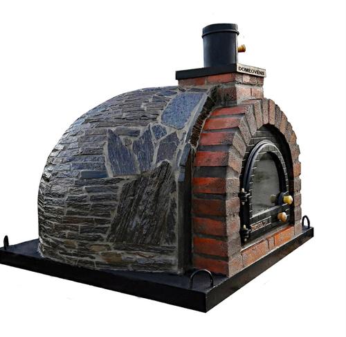 110 cm Pizzaugn dubbelisolerad vedeldad / gas med natursten med skorsten