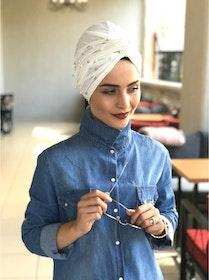 Twist Turban med Pärlor Naturvit