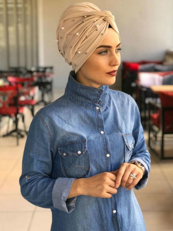 Twist Turban med Pärlor Beige
