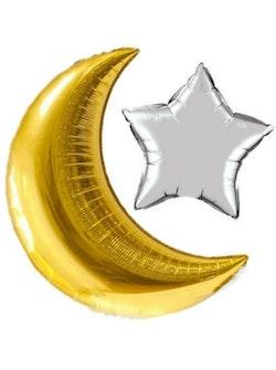 Guld Halvmåne och Silver stjärna Ballong