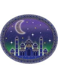 Eid / Ramadan Plasttallrikar Oval 8st