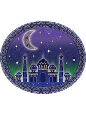 Eid / Ramadan Plasttallrikar Oval (8st)