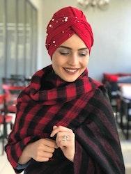 Twist Turban med Pärlor Röd