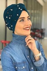 Twist Turban med pärlor Petrol