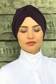 Twist Turban Spandex Aubergine