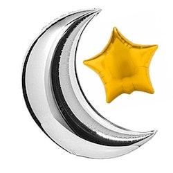 Silver Halvmåne och Guld Stjärna Ballong