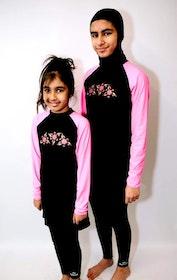 Burkini Tunika Flickor Svart/Rosa