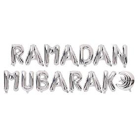 Ramadan Mubarak Folieballong + måne Silver