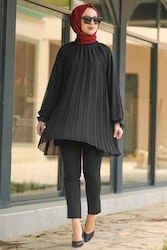 Pleated chiffong tunik svart