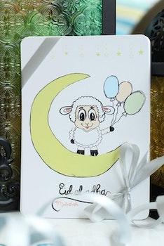 Enkel Eid Mubarak Vykort Halvmåne