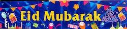 Eid Mubarak Banner Blå