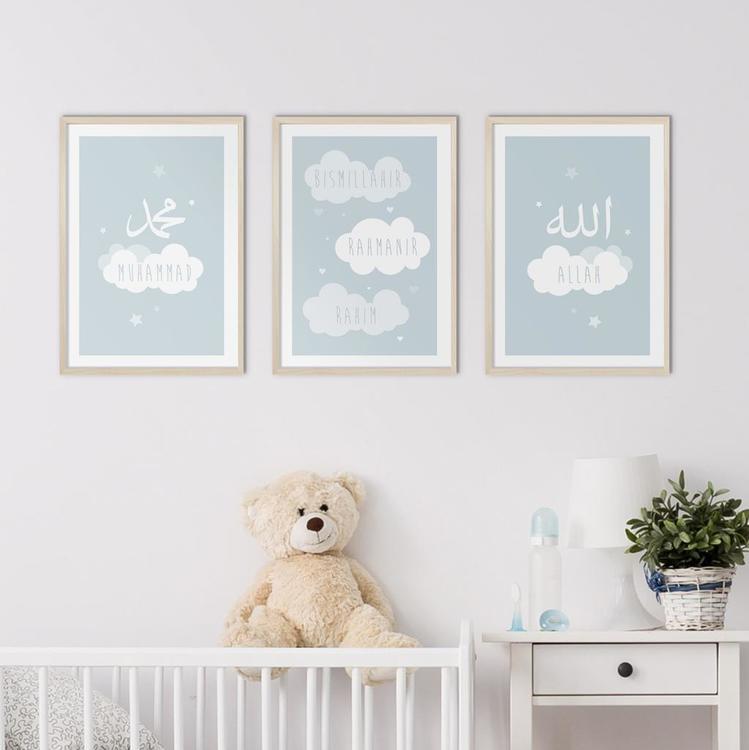 Cloud Set Blue Poster