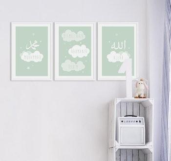 Cloud Set Green Poster