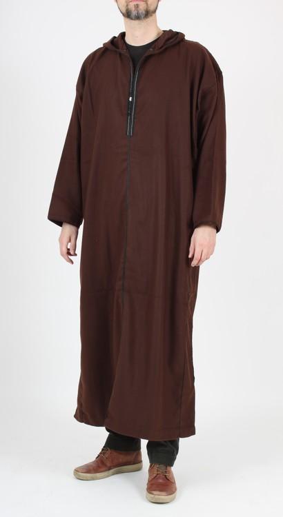Marockansk Fleece Jalaba | Brun