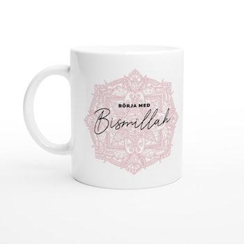 Bismillah mugg vit/rosa svenska
