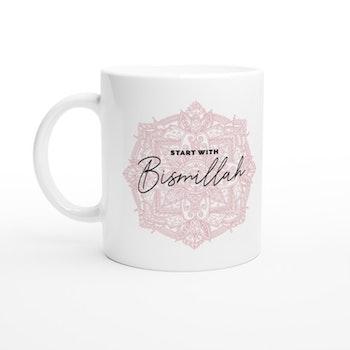 Bismillah mug white/pink english