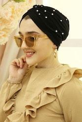 Lyx turban med pärlor svart