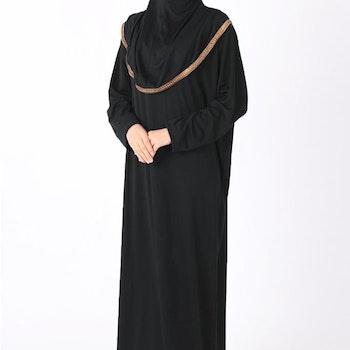 Gulsum Svart med Guld Trim Bönekläder