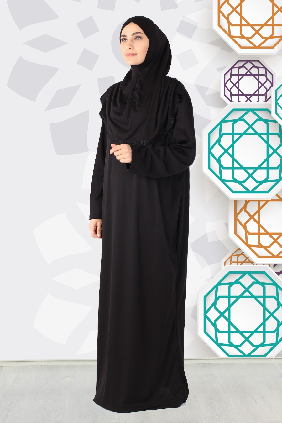 Gulsum Svart med Trim Bönekläder