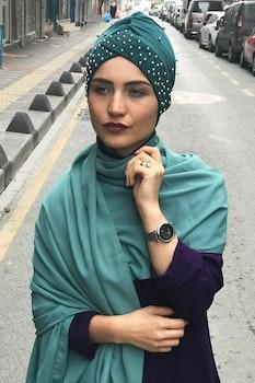 Twist Turban med Pärlor Grön